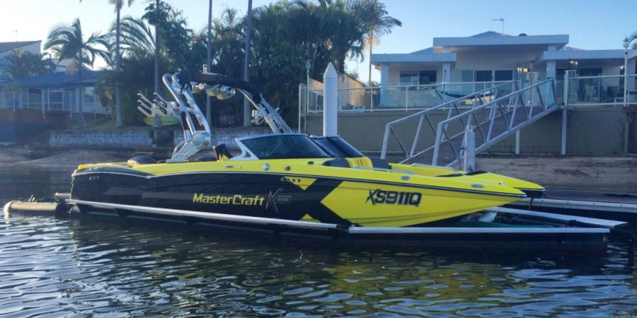 Mastercraft boat in a Seapen on the Gold Coast