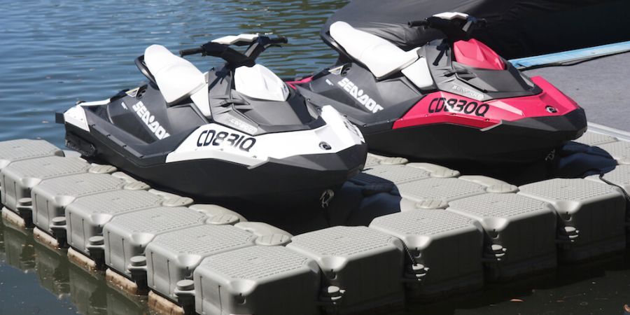 Sea Doo Sparks dry docked on FloatBricks double U-350