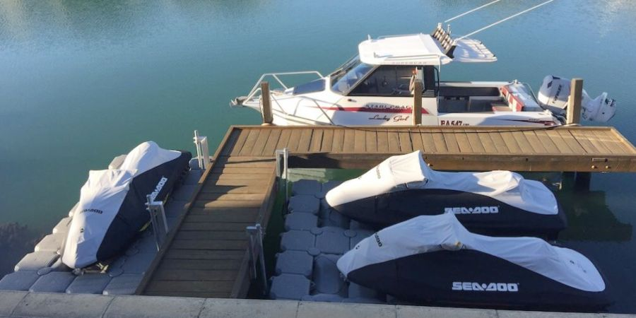 Double jet ski dock + single jet ski dock private marina